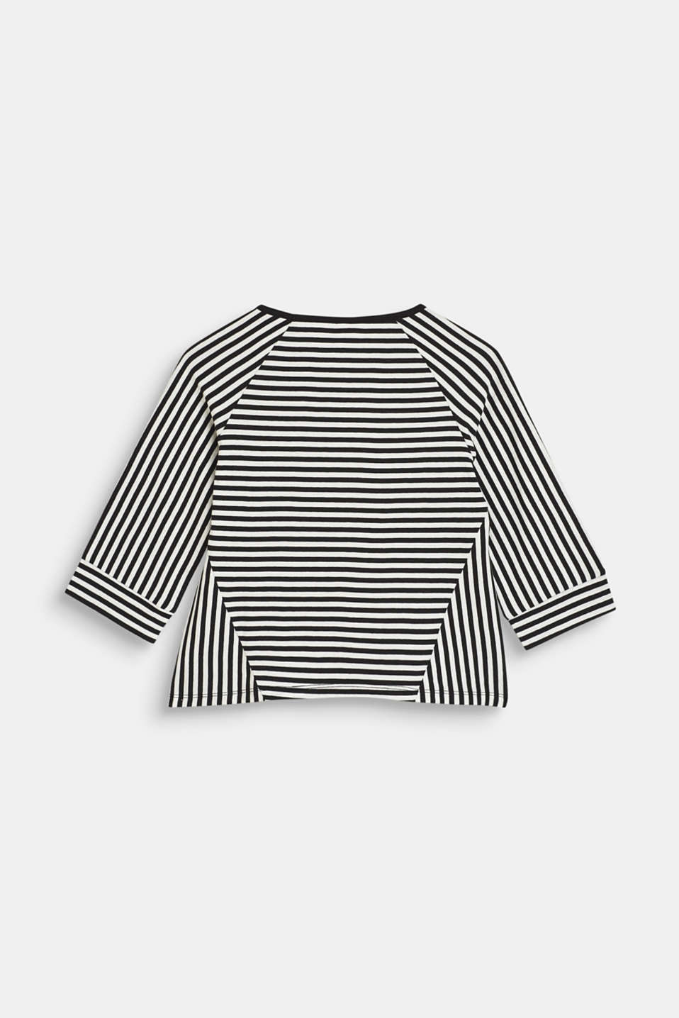 Striped top with logo print, 100% cotton, LCANTHRACITE, detail image number 1