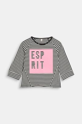 Striped top with logo print, 100% cotton, LCANTHRACITE, detail