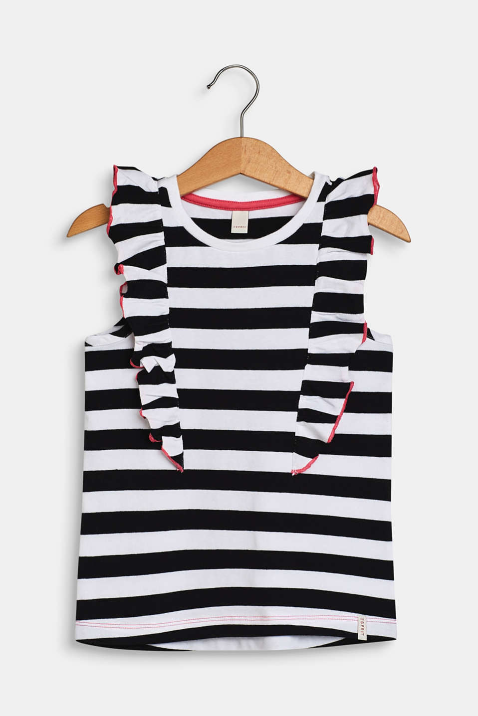 Striped jersey top with flounce details, WHITE, detail image number 0