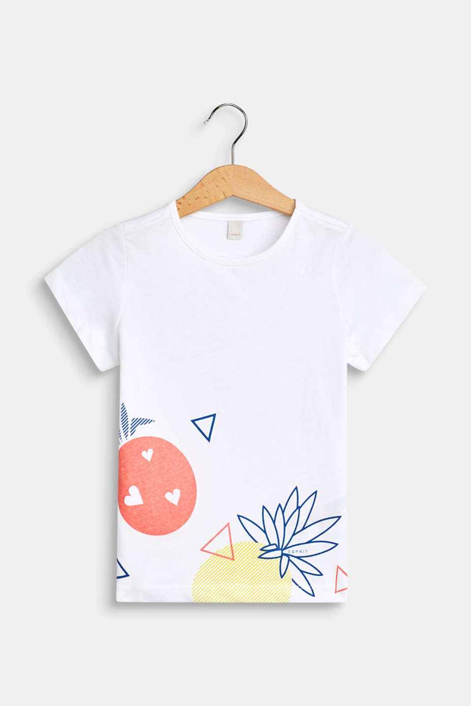 Front print T-shirt, 100% cotton, WHITE, detail image number 0
