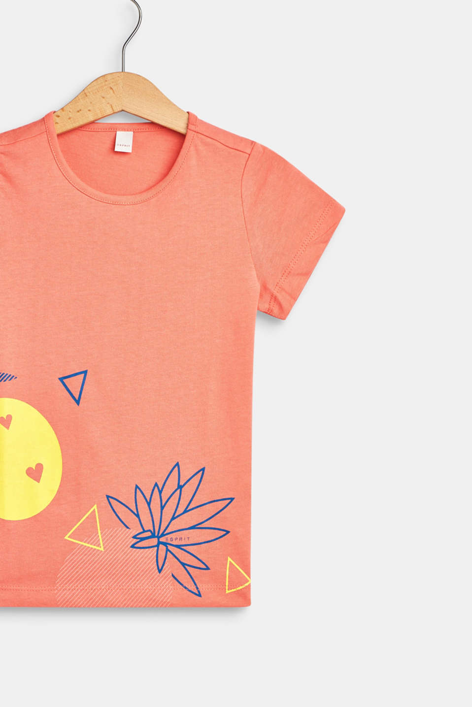 Front print T-shirt, 100% cotton, CORAL, detail image number 2