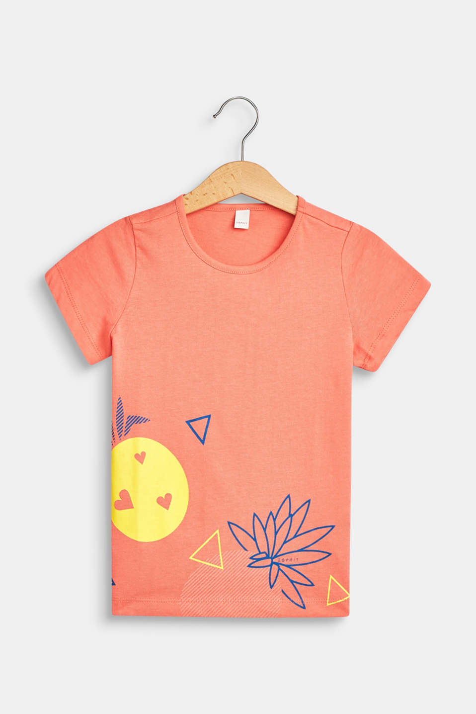 Front print T-shirt, 100% cotton, CORAL, detail image number 0