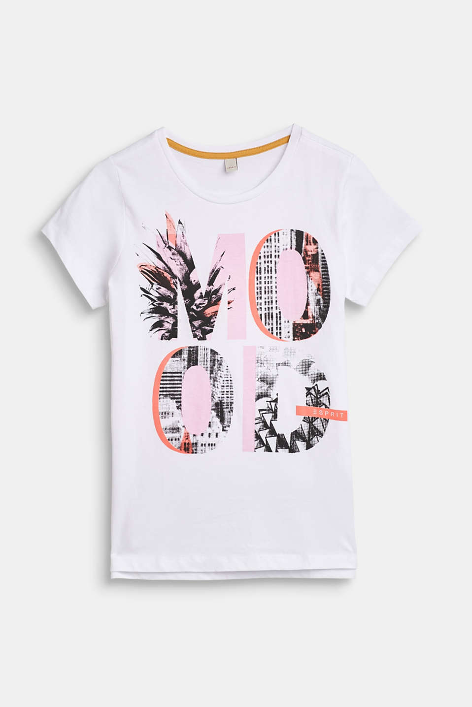 Esprit - T-shirt with printed lettering, 100% cotton