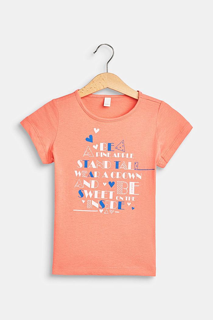 Camiseta con rótulo estampado, 100% algodón , CORAL, detail image number 0