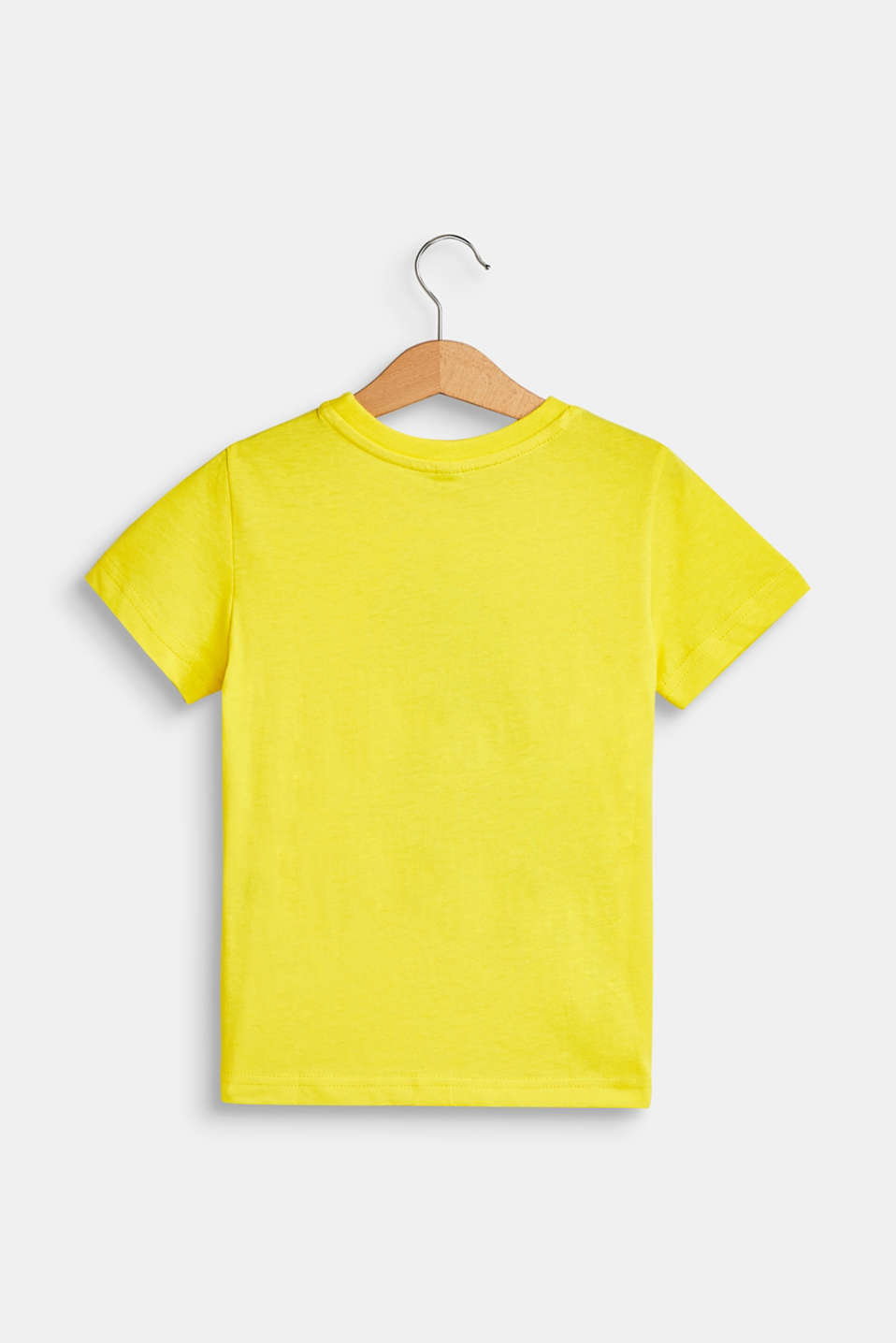 Front print T-shirt, 100% cotton, BRIGHT YELLOW, detail image number 1