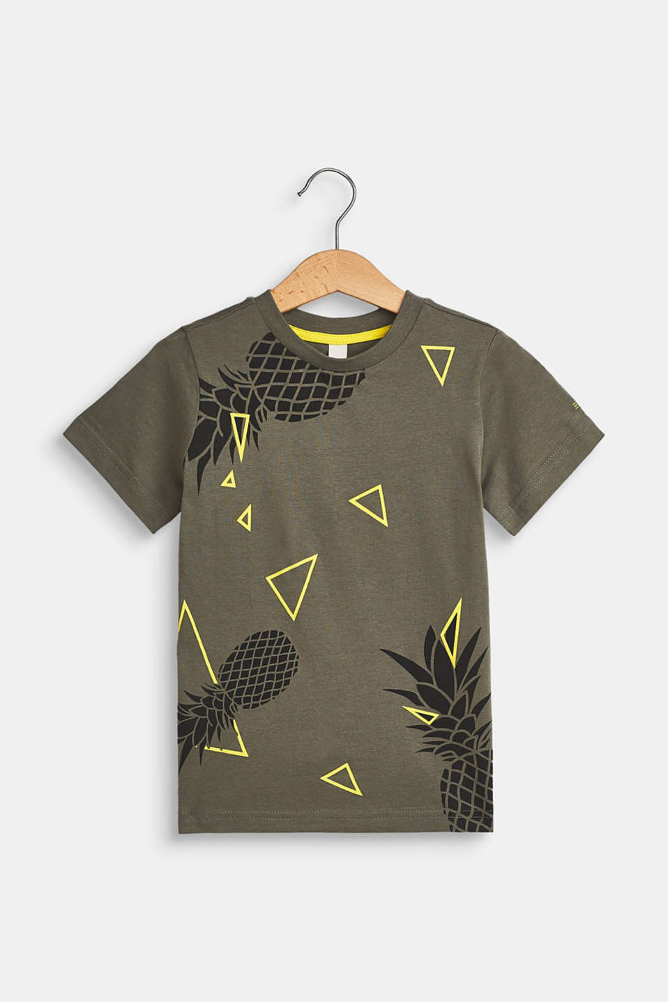 Pineapple print T-shirt, 100% cotton, LIGHT KHAKI, detail image number 0