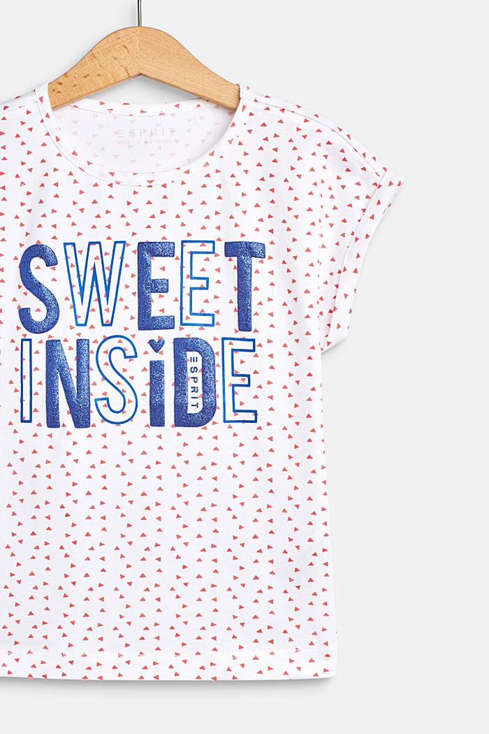 T-Shirt mit Glitzer-Print, Baumwoll-Stretch, WHITE, detail image number 2