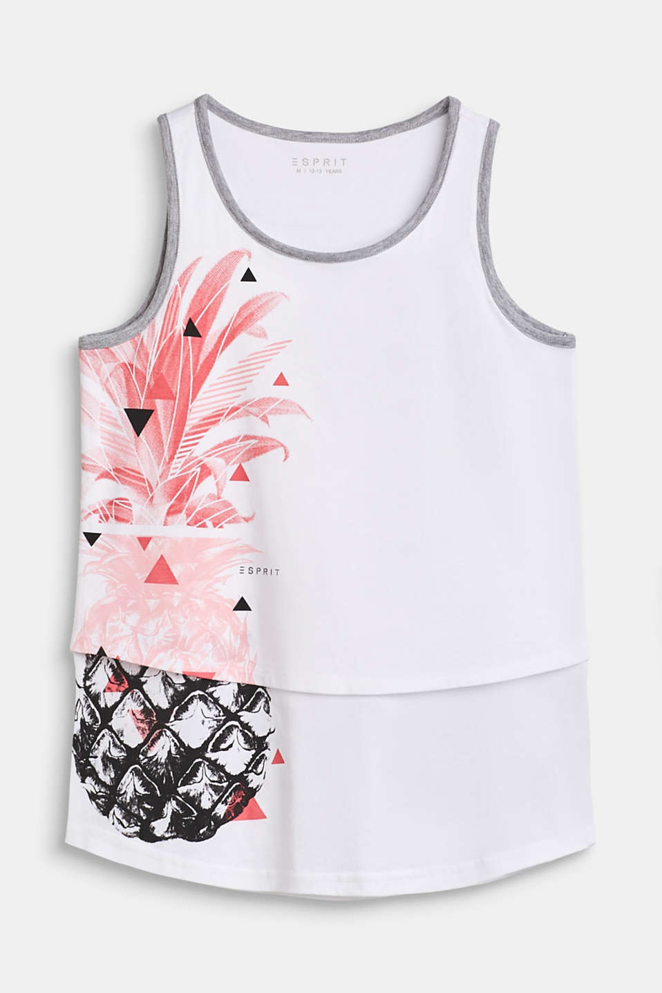 Esprit - Vest top in a layered style, 100% cotton