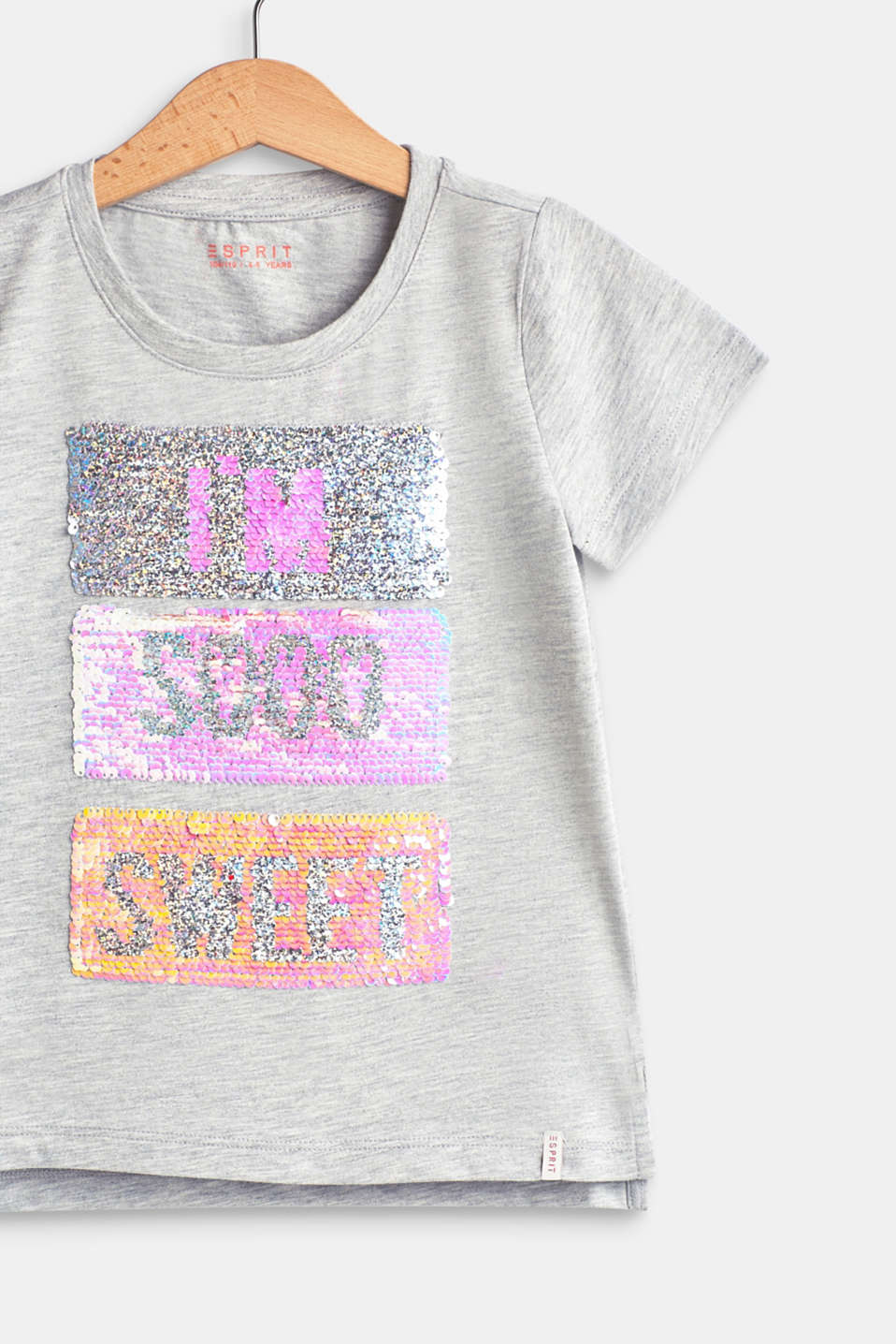 100% cotton T-shirt with reversible sequins, HEATHER SILVER, detail image number 3