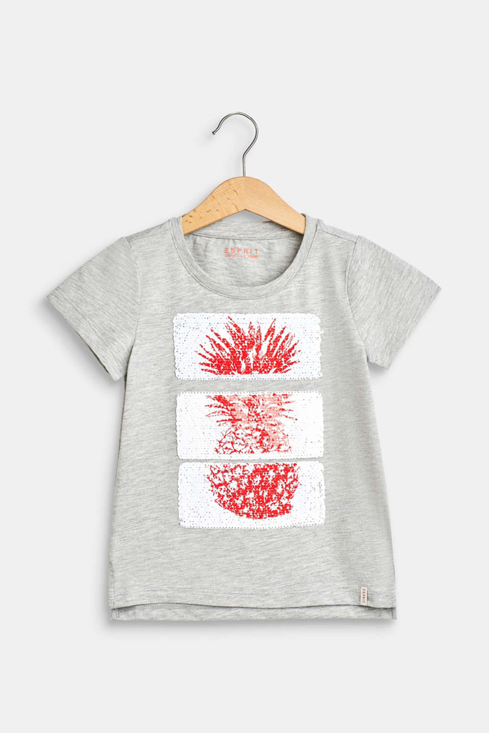 100% cotton T-shirt with reversible sequins, HEATHER SILVER, detail image number 0