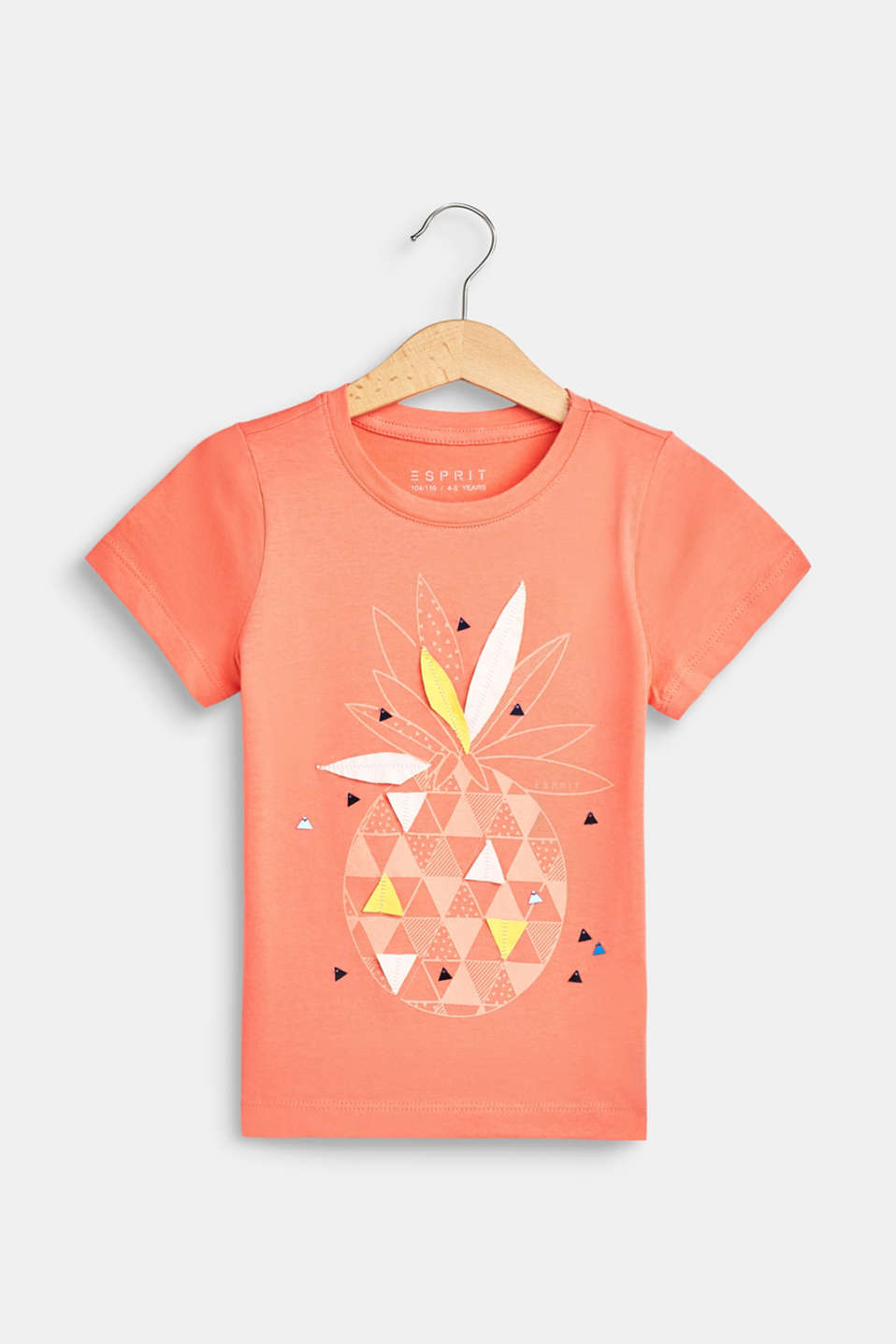 Esprit - Print T-shirt with appliqué, 100% cotton