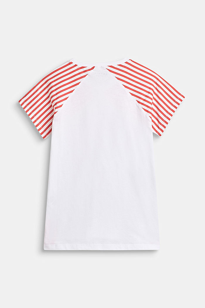 Shirt met gestreepte mouwen, 100% katoen, CORAL, detail image number 1