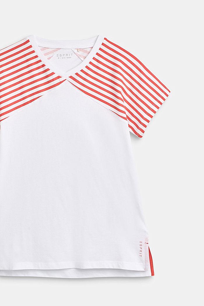 Shirt met gestreepte mouwen, 100% katoen, CORAL, detail image number 3