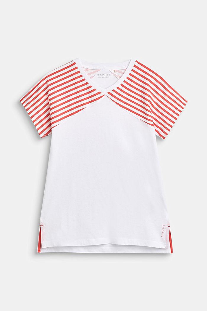 Shirt met gestreepte mouwen, 100% katoen, CORAL, detail image number 0