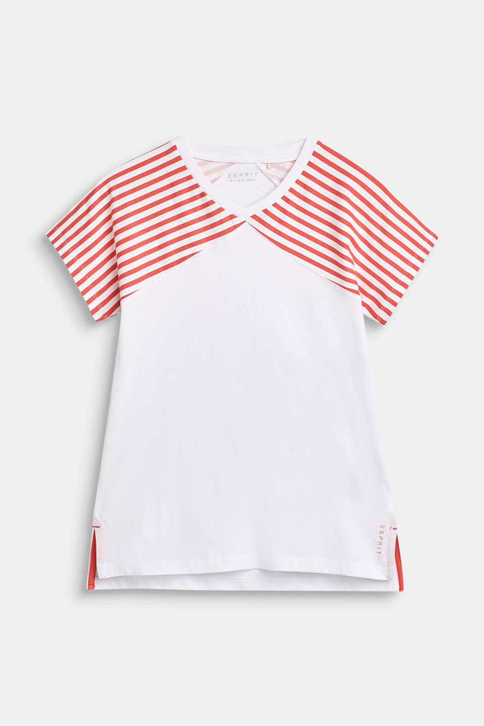 Esprit - 100% cotton T-shirt with striped sleeves