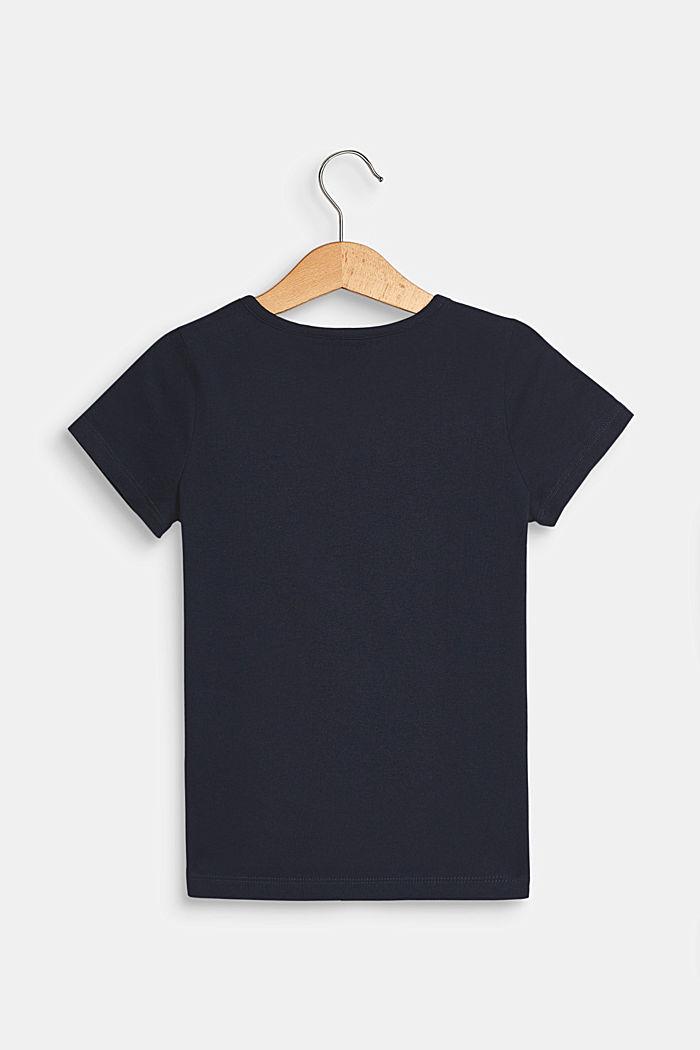 T-shirt met stretch en motief op de zak, NAVY BLUE, detail image number 1