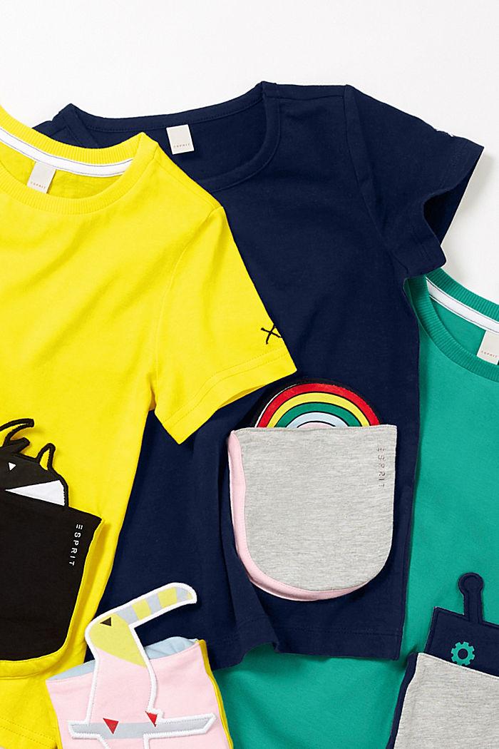 T-shirt met stretch en motief op de zak, NAVY BLUE, detail image number 3