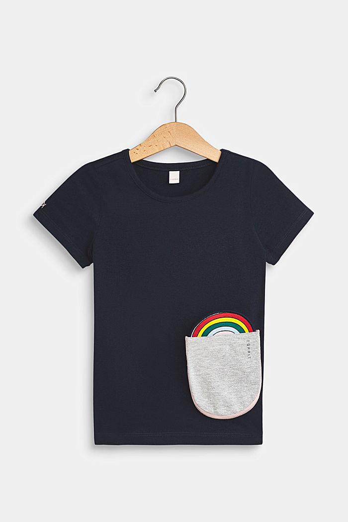 T-shirt met stretch en motief op de zak, NAVY BLUE, detail image number 0