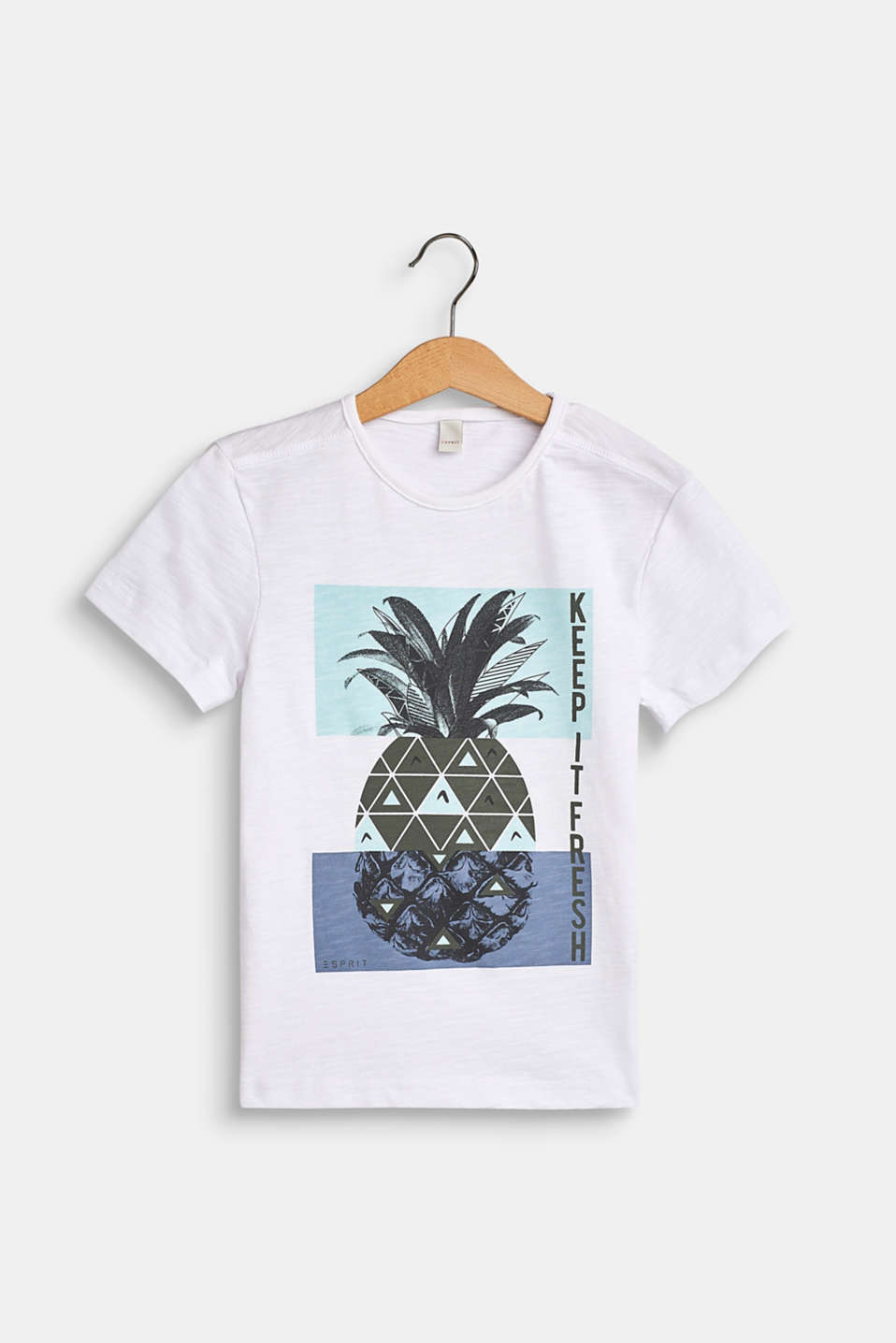 Slub T-shirt with a pineapple print, 100% cotton, WHITE, detail image number 0