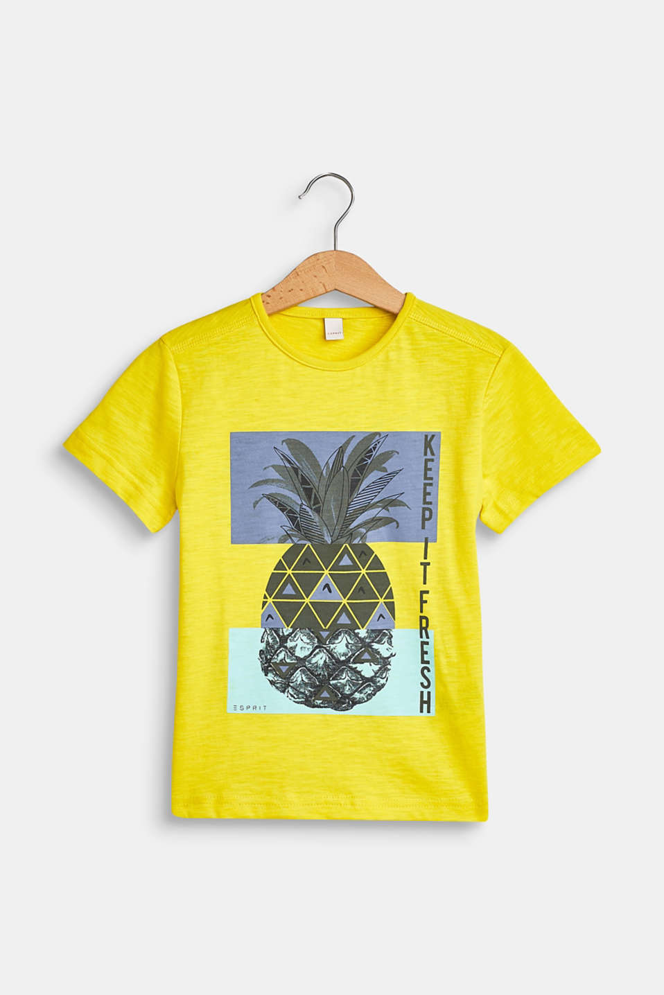 Esprit - Slub T-shirt with a pineapple print, 100% cotton
