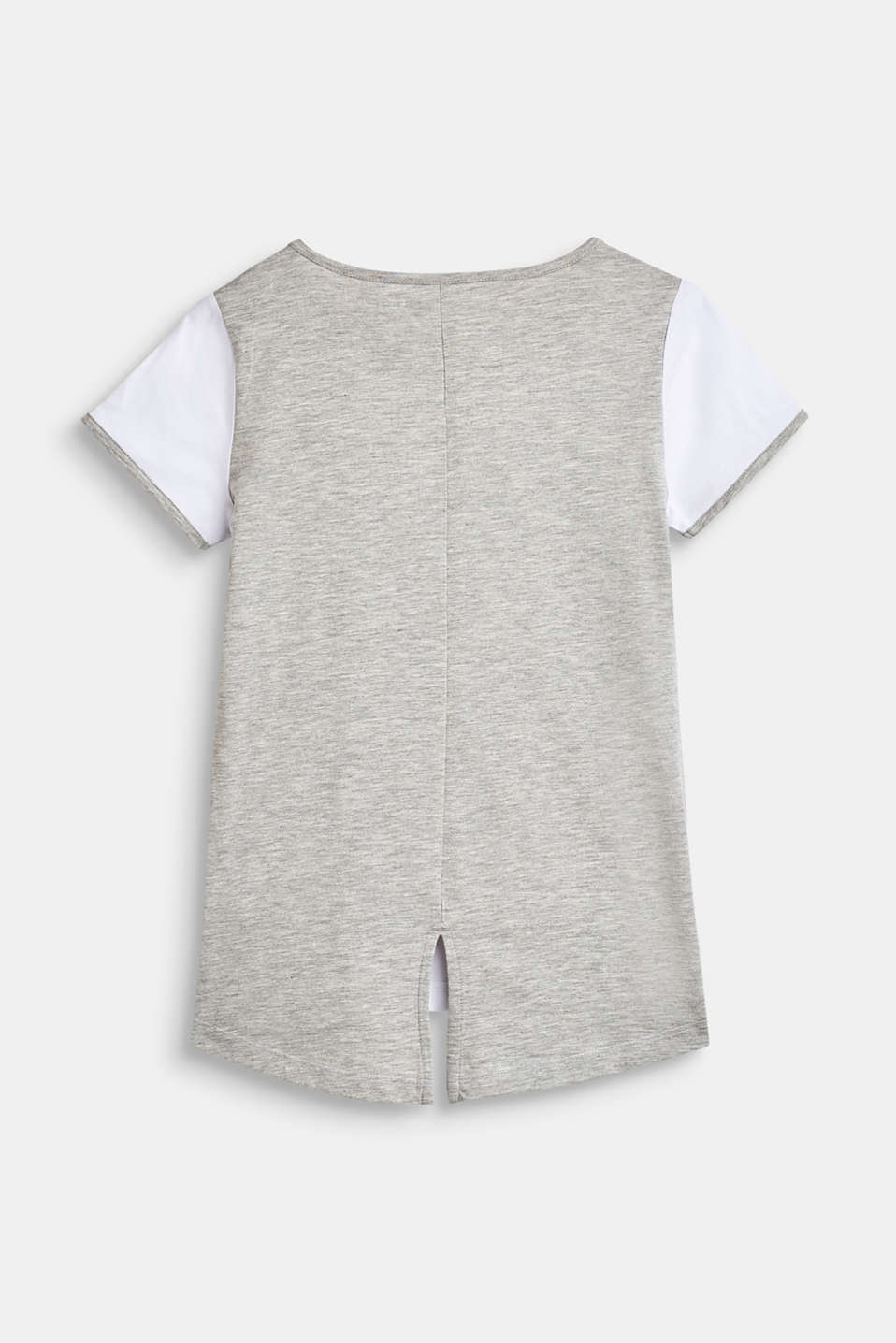 Printed T-shirt in a mix of materials, LCHEATHER SILVER, detail image number 1