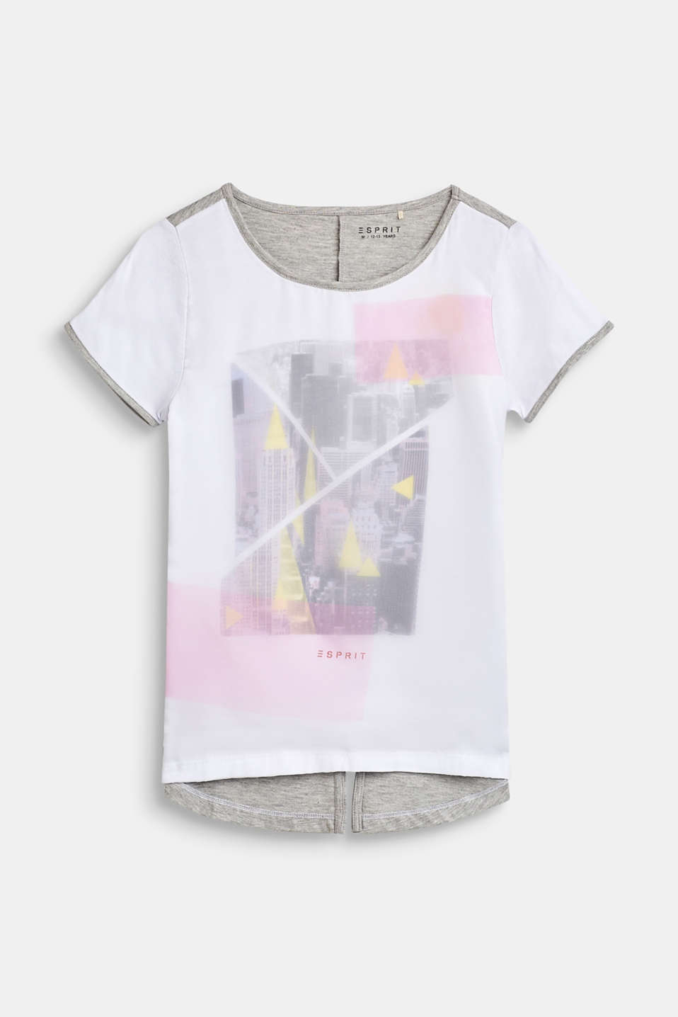Esprit - Printed T-shirt in a mix of materials