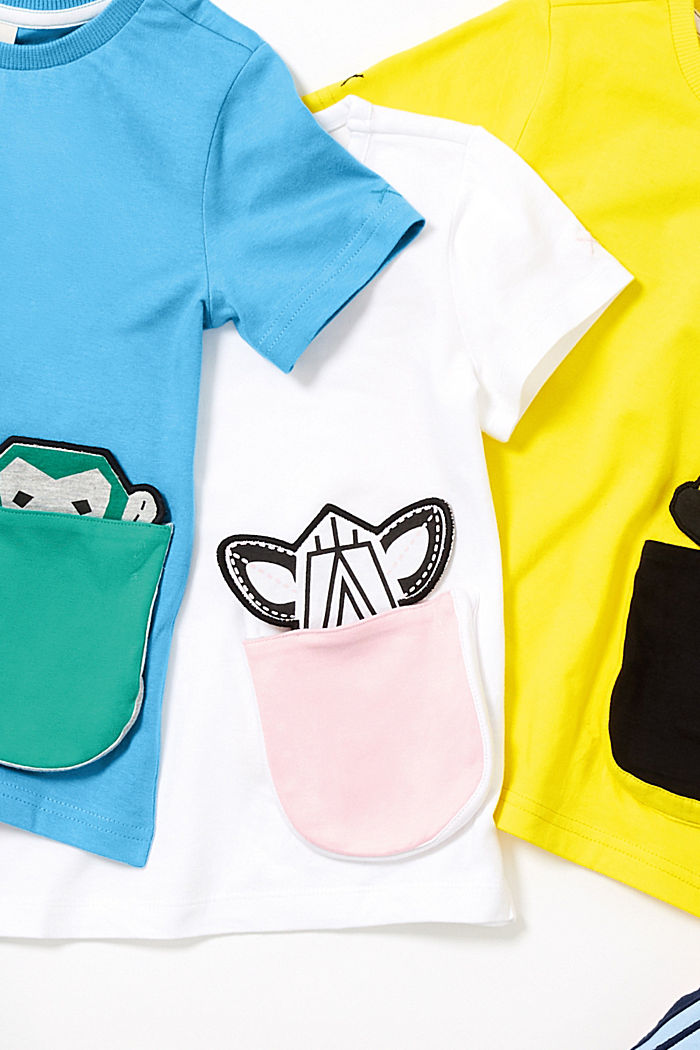 Stretch-T-Shirt mit Motiv-Tasche, WHITE, detail image number 3