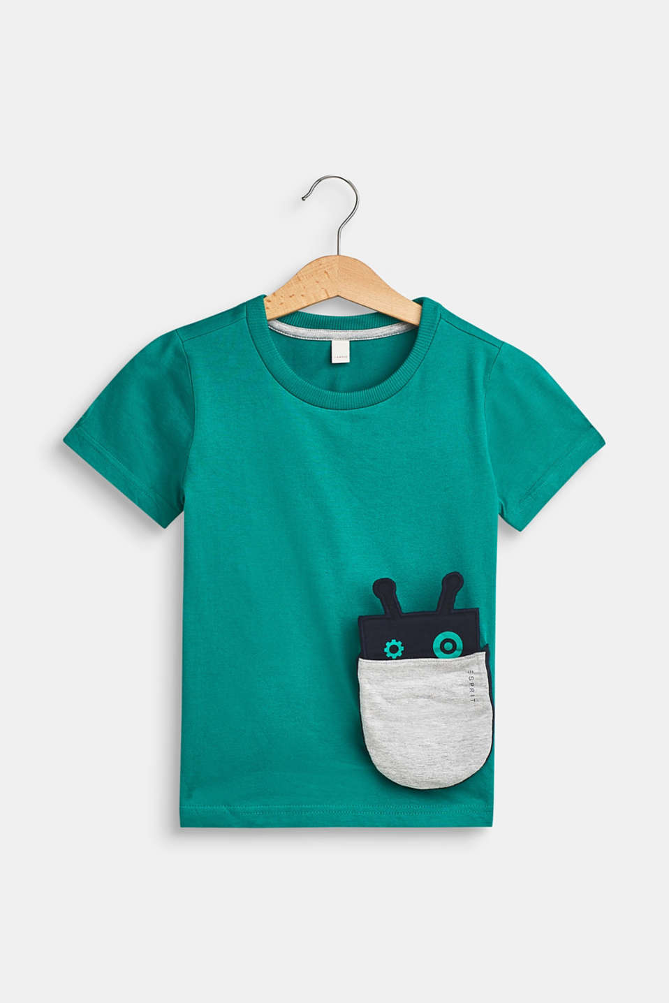 Esprit - T-shirt with a motif pocket, 100% cotton