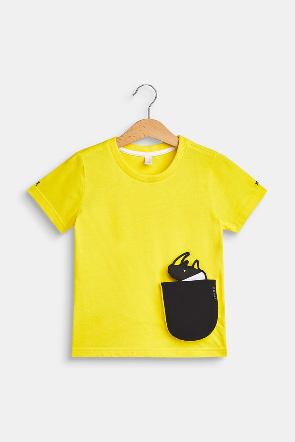 T-shirt with a motif pocket, 100% cotton, BRIGHT YELLOW, detail image number 0