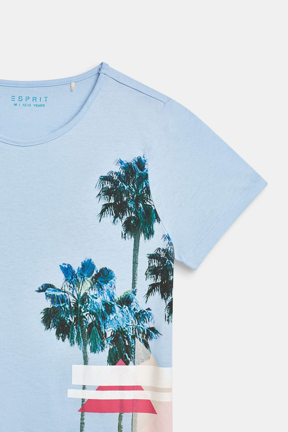 T-shirt with palm print, 100% cotton, LCSKY BLUE, detail image number 2