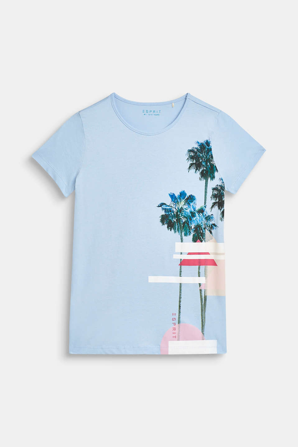 T-shirt with palm print, 100% cotton, LCSKY BLUE, detail image number 0