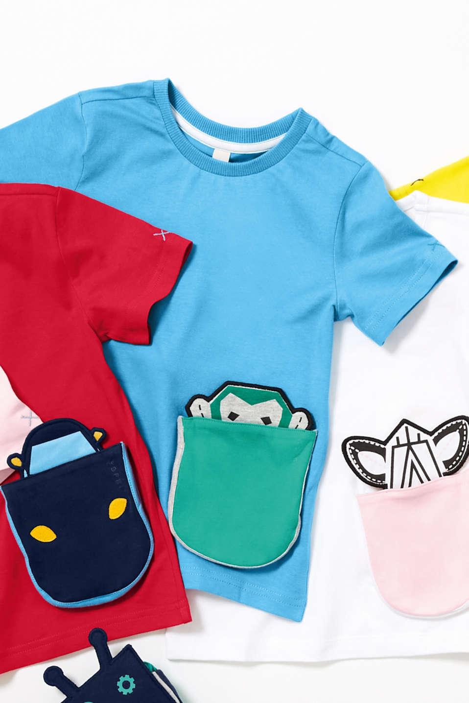 T-shirt with a motif pocket, 100% cotton, AZUR BLUE, detail image number 3