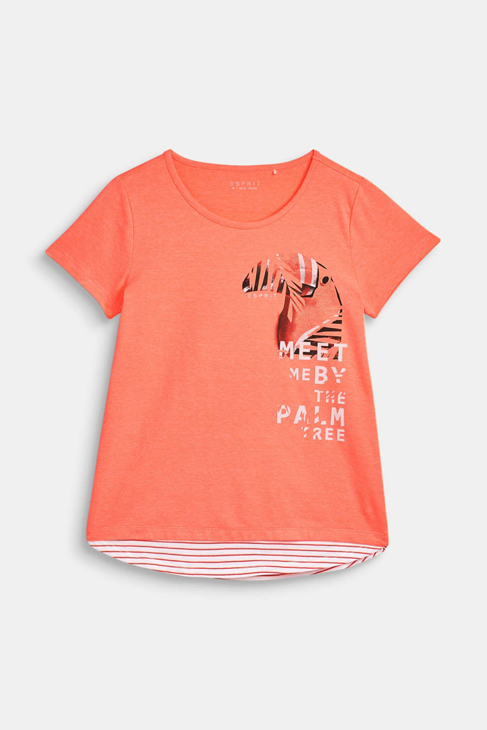 Esprit - Stretch top with a toucan print and striped hem