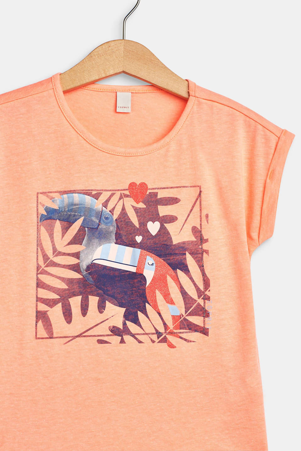 T-shirt with a glittery toucan print, NEON CORAL, detail image number 2
