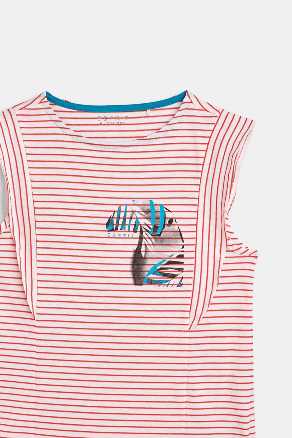 Striped T-shirt with a toucan print and a flounce, LCWHITE, detail image number 2