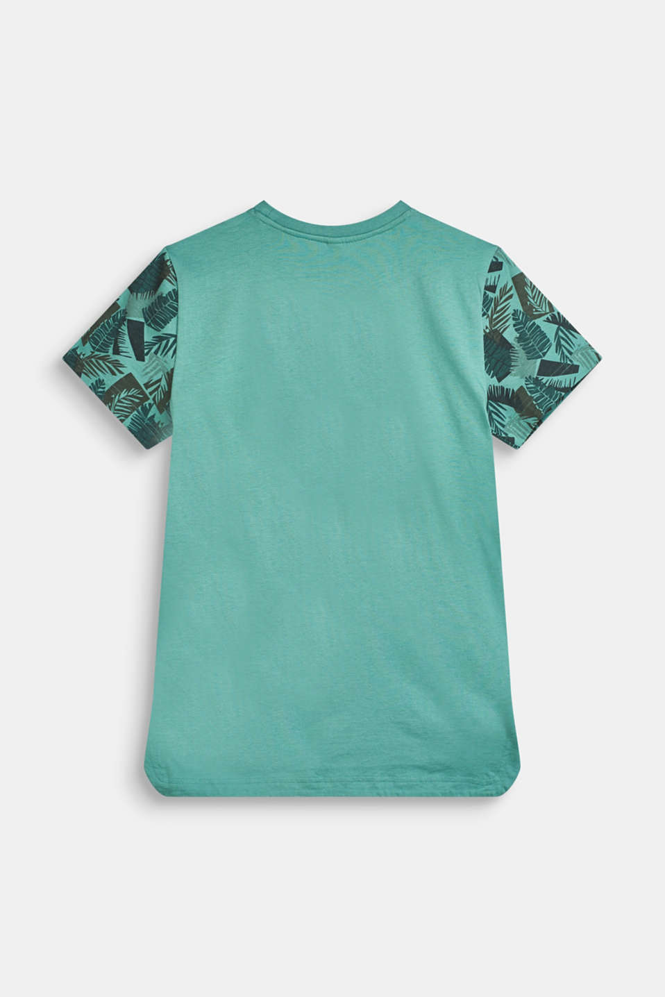 T-shirt with tropical print, 100% cotton, LCSOFT GREEN, detail image number 1
