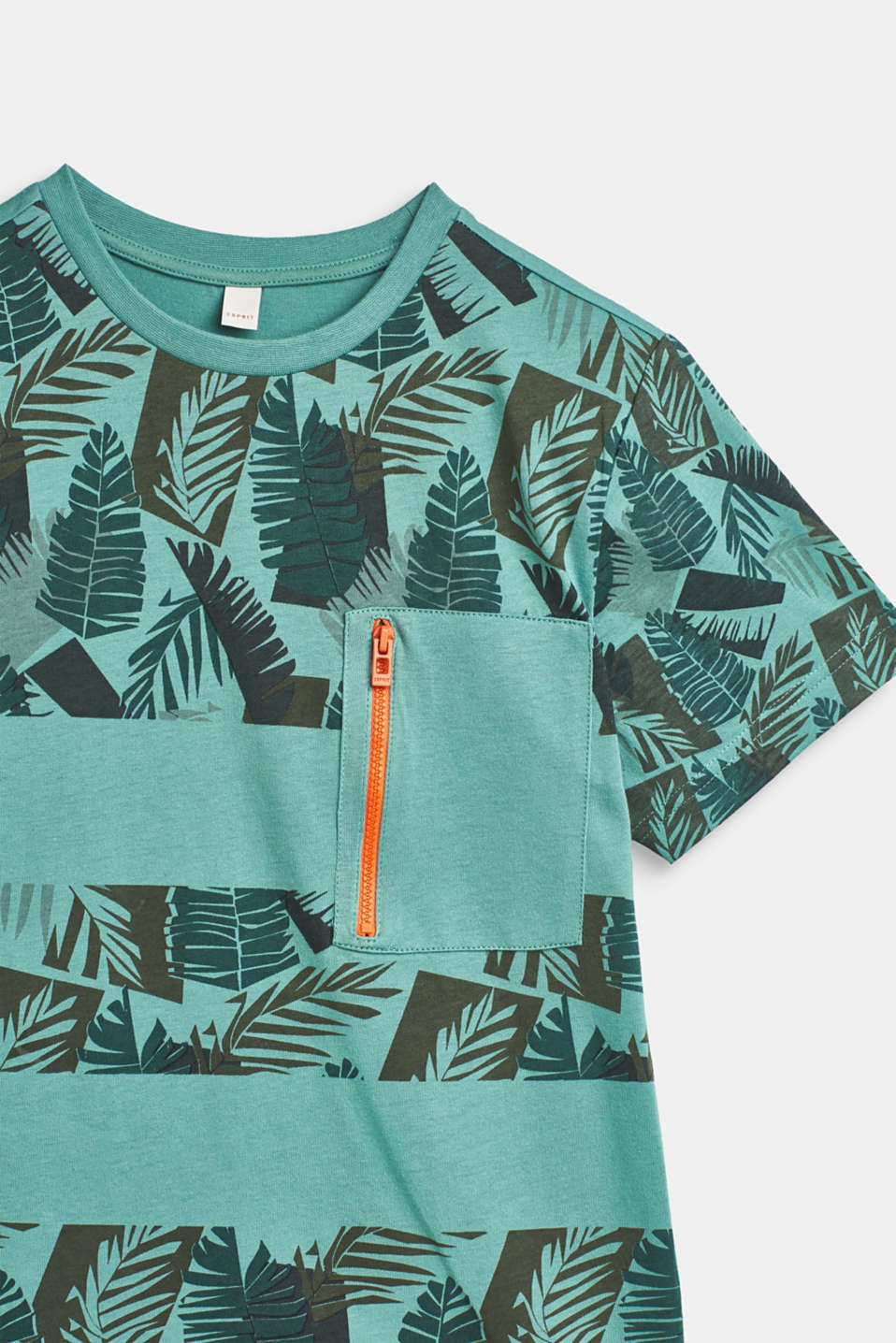 T-shirt with tropical print, 100% cotton, LCSOFT GREEN, detail image number 2