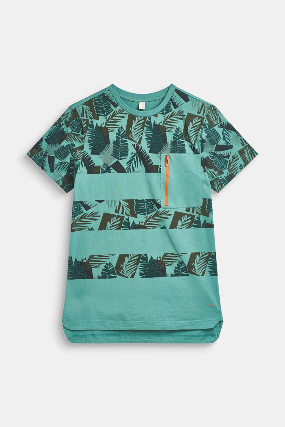 Esprit - T-shirt with tropical print, 100% cotton