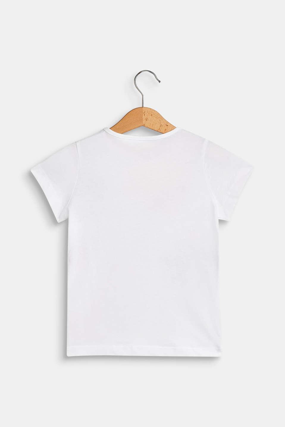 Flock print T-shirt, 100% cotton, WHITE, detail image number 1