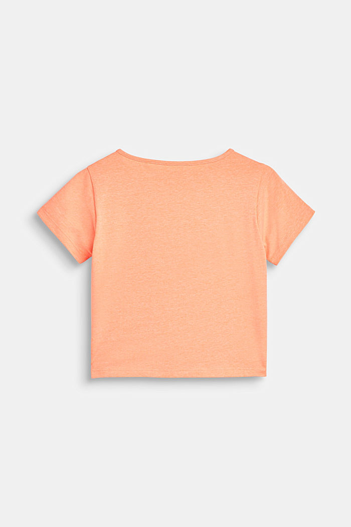 Boxy-T-Shirt mit Chiffon-Layering, NEON CORAL, detail image number 1