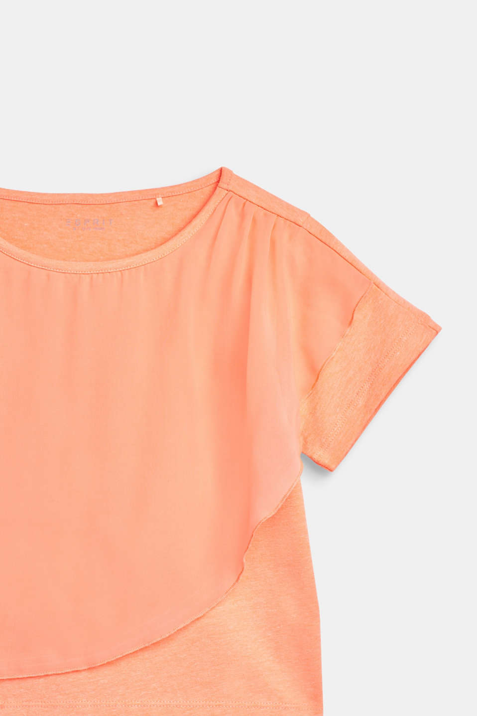 Boxy T-shirt with chiffon layering, LCNEON CORAL, detail image number 2