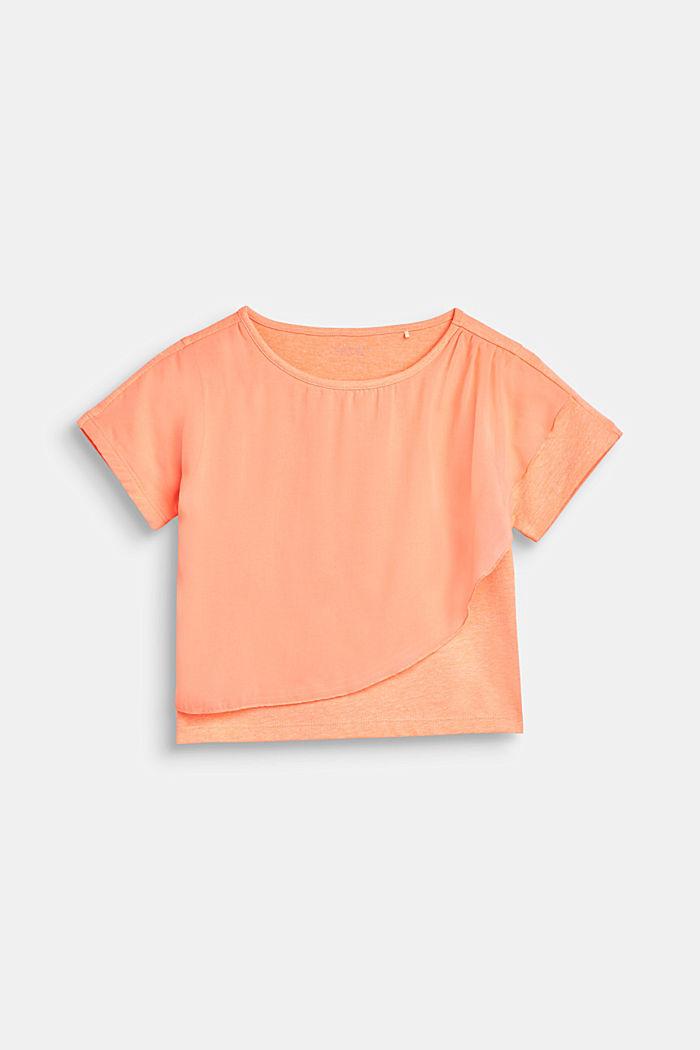 Boxy-T-Shirt mit Chiffon-Layering, NEON CORAL, detail image number 0