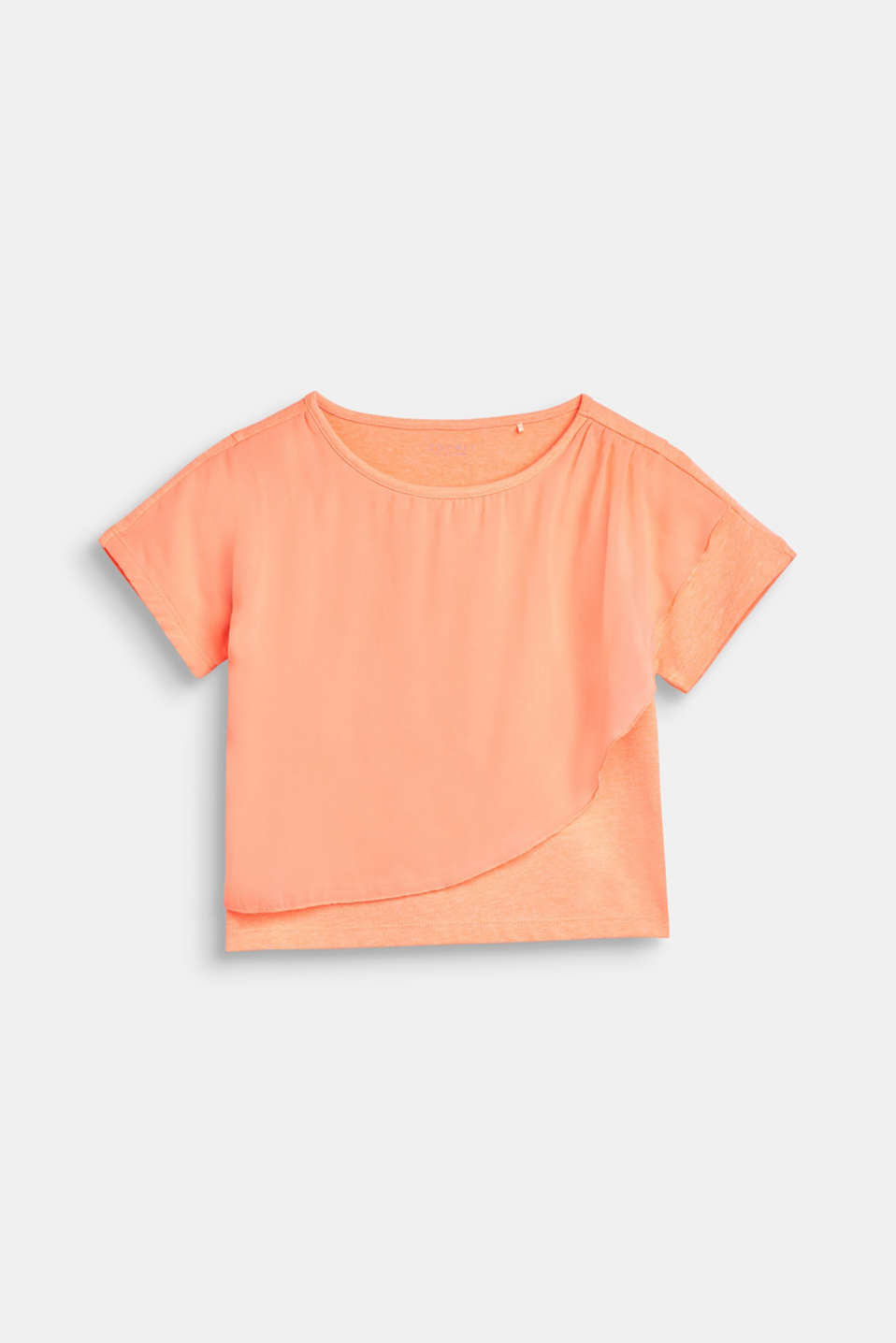 Boxy T-shirt with chiffon layering, LCNEON CORAL, detail image number 0