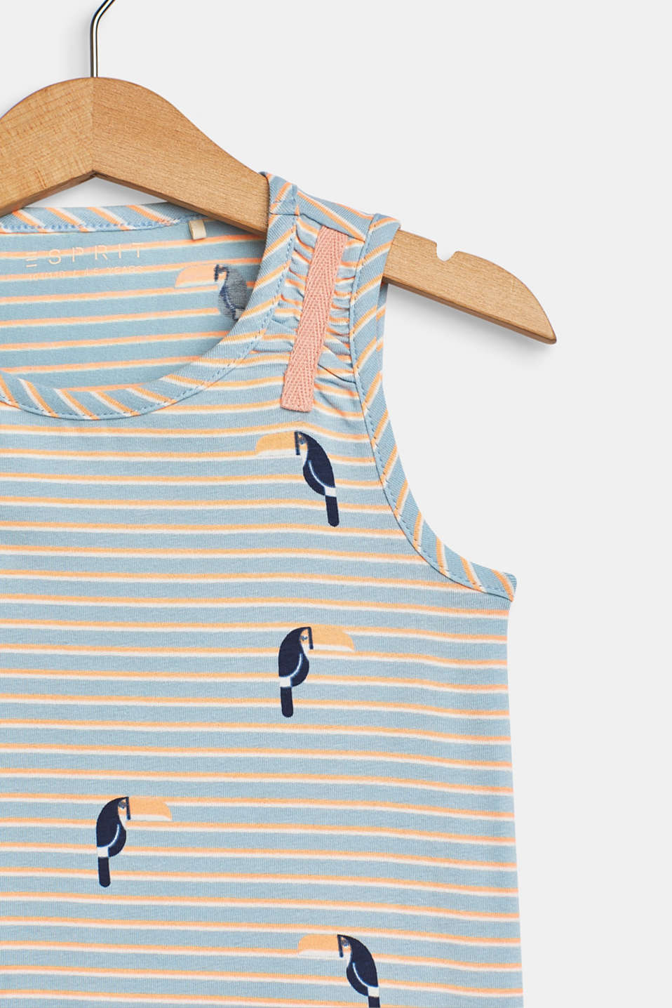 Vest top with toucan print, made of stretch cotton, SKY BLUE, detail image number 2
