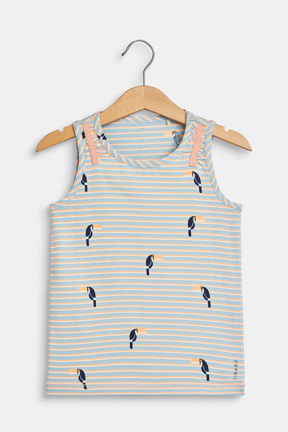 Vest top with toucan print, made of stretch cotton, SKY BLUE, detail image number 0