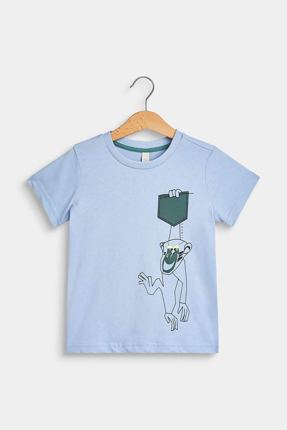 100% cotton T-shirt with a monkey print, SKY BLUE, detail image number 0