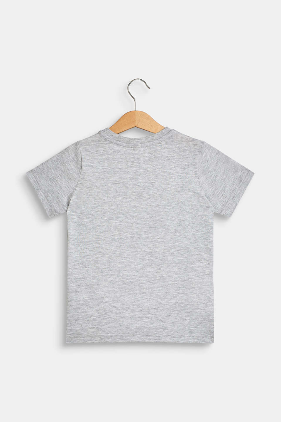 T-shirt with tropical print, 100% cotton, HEATHER SILVER, detail image number 1