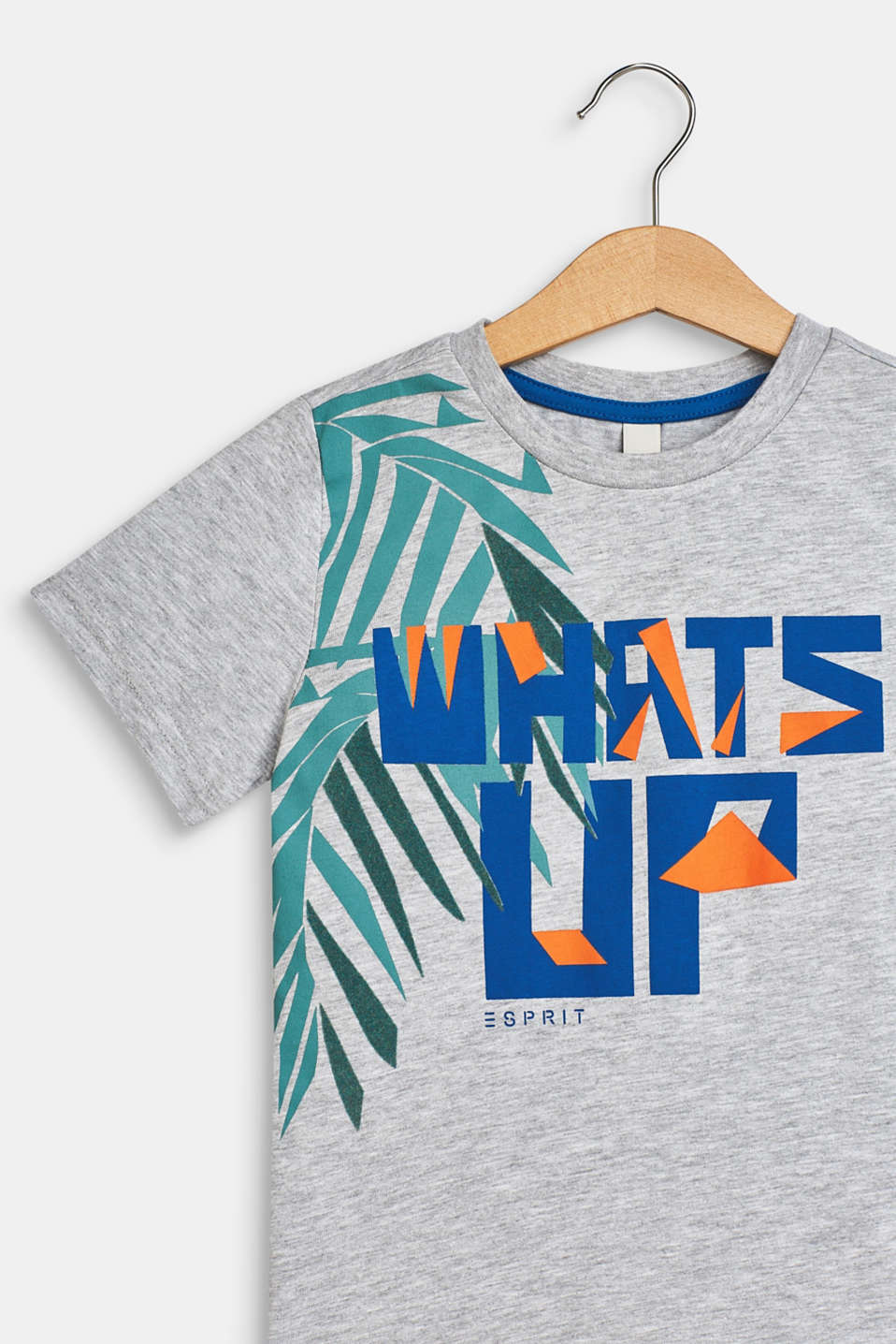 T-shirt with tropical print, 100% cotton, HEATHER SILVER, detail image number 2