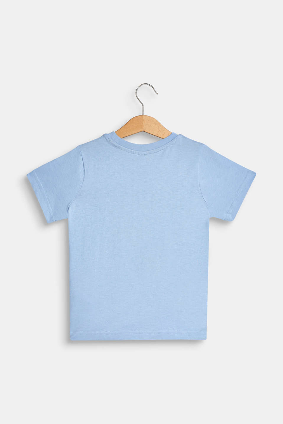 T-shirt with tropical print, 100% cotton, SKY BLUE, detail image number 1