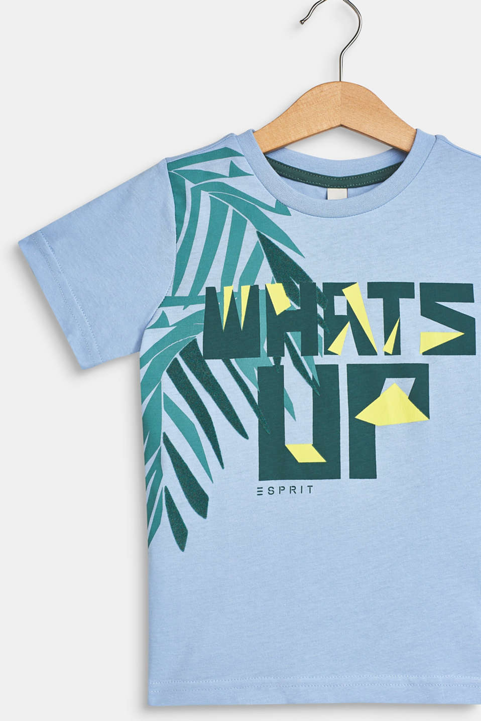 T-shirt with tropical print, 100% cotton, SKY BLUE, detail image number 2